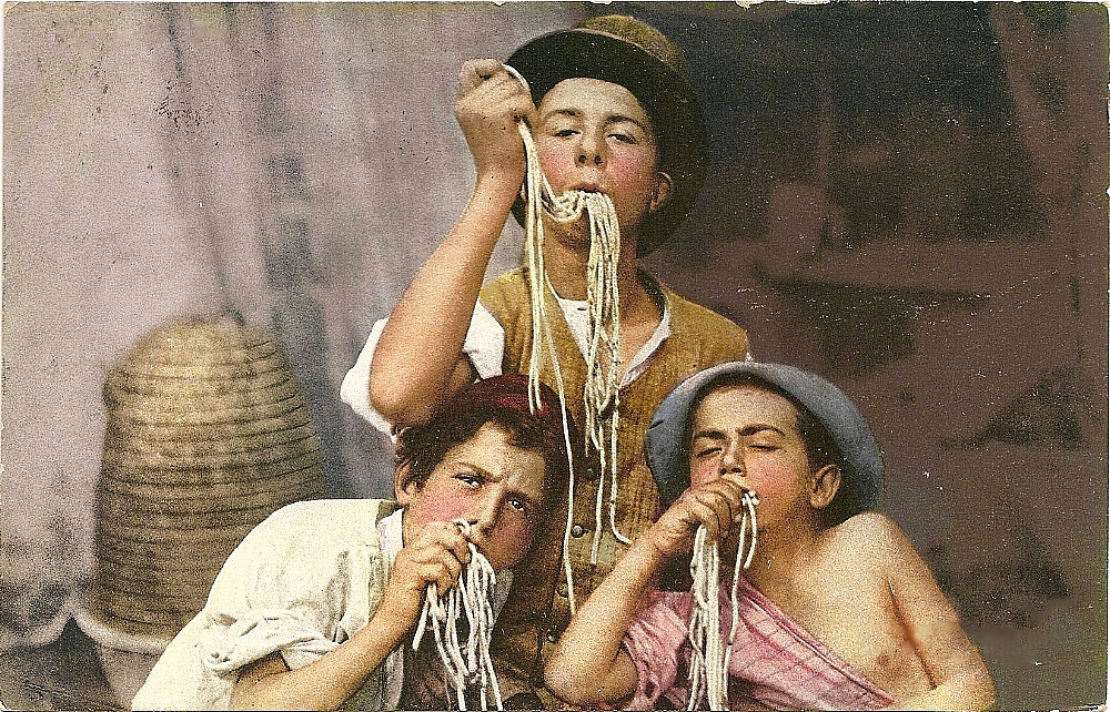 Postcard of macaroni eaters