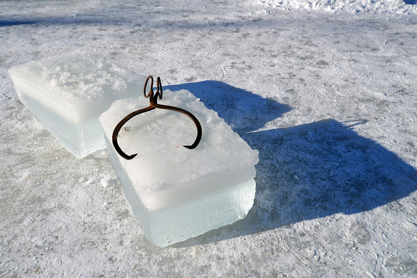 220 Ice block with tongs on it