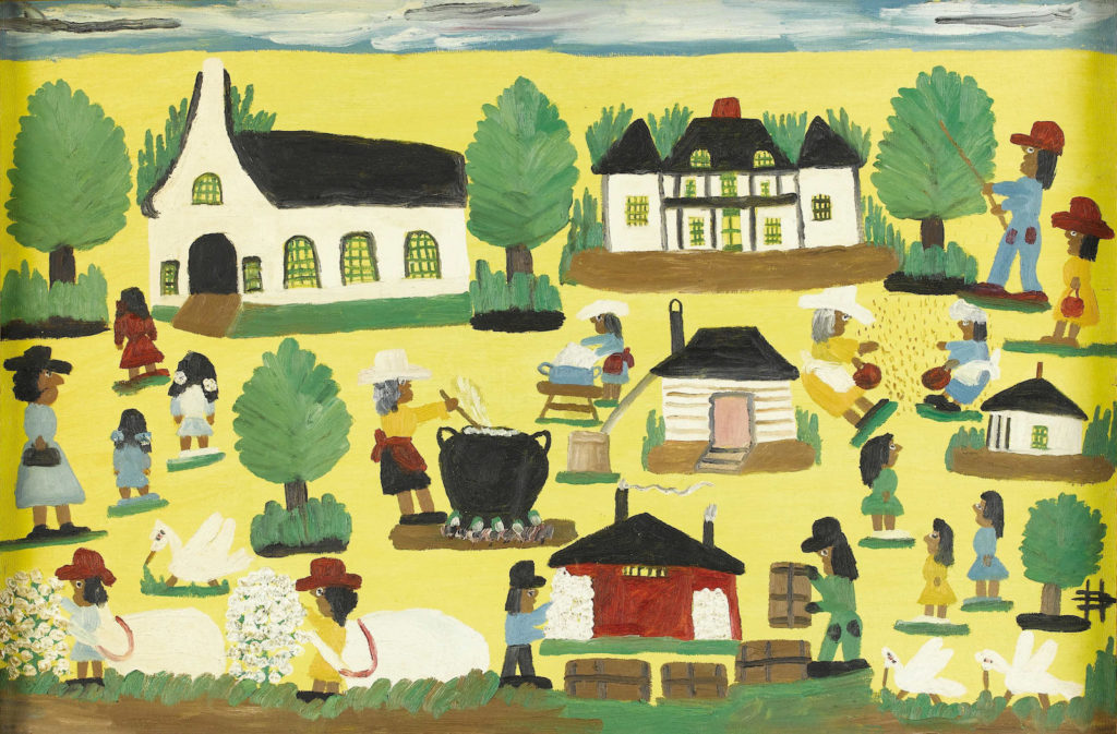 Painting on a yellow background featuring a town with a church, several buildings, and brown-skinned people going about daily duties of the town. One person is stirring a large black cauldron, another person is doing the washing, a family of four in dresses are walking into the church.