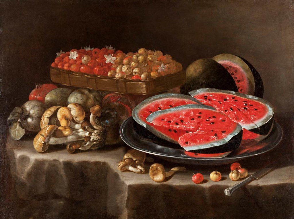 Painting of bright red watermelon on platter on a table with other fruits