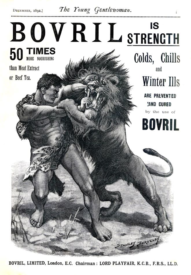 "A black and white lithograph ad with a large illustration of a shirtless man wrestling a lion. The words above and around him read: ""Bovril is Strength. 50 times more nourishing than Meat Extract or Beef Tea. Colds, Chills, and Winter Ills are prevented and cured by the use of Bovril."""