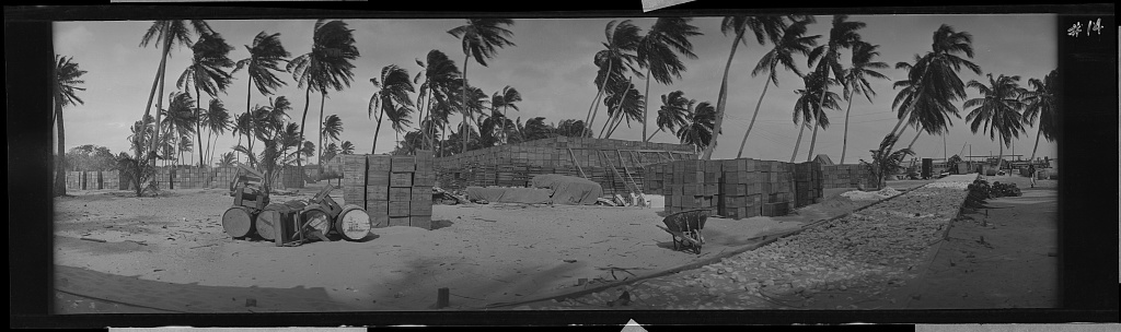 A black and white photo of wooden cases on a beach with palm trees swaying in the background